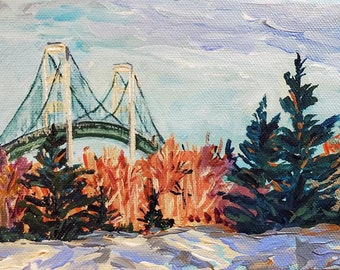 "Original Painting: ""Mackinac Bridge"" Lake Michigan Painting, Michigan Art, Mackinac Bridge, Home Decor, cottage decor, UP Michigan"