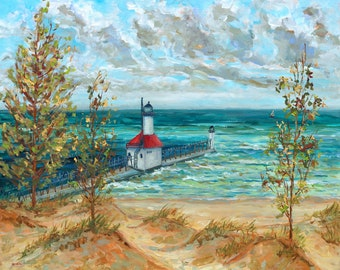Saint Joseph Overview, Lake Michigan, Lighthouse, Sand, Dunes, Fine Art Print, Giclee, Canvas Print