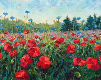 "Original Painting: ""Poppy Dance""  Michigan, Poppy field, Poppy painting, Landscape, Flower painting, field, meadow"
