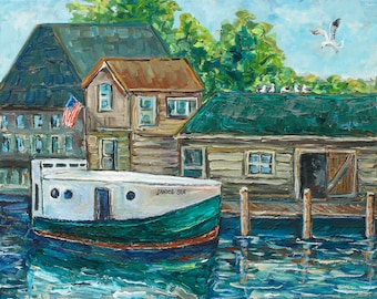 ORIGINAL Painting of Historic Fishing Boat, Janice Sue, Leland, Fishing Boat, Summer Vacation