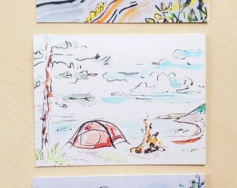 Camping Inspired Greeting Cards, Pack of 6 assorted blank cards, envelopes, Michigan, Campfire, Sunset