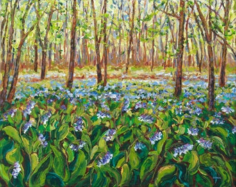 Bluebells, Spring in the Woods, Native Wildflowers, Flora and Fauna Painting, Forest, Michigan Artist