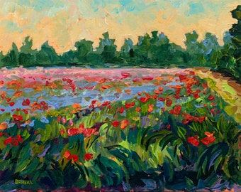 Twilight Approaching Reproduction Print, Poppy painting, Fennville, Michigan, poppy field, landscape, home decor, flower painting, meadow