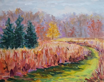 """Original Painting: """"Cedars and Gold"""" November, Field Painting, Fall Meadow, Autumn, Home Decor, Fall Field, Plein air painting, trail"""