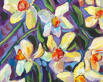 Hopeful Spring, Daffodils, Spring Flowers, Purple, Yellow, Turquoise