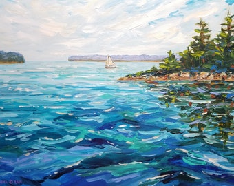 "Original Painting of: ""Cedar Islands,"" Les Cheneaux, Hessel, Cedarville, Chris Craft, Sailing, Boat, Upper Michigan, Michigan Painting"