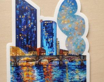 Grand Rapids, Downtown, West Michigan, Marriott, Grand River, Vinyl Stickers, Michigan Sticker, Travel, Bumper Sticker, City, Sticker