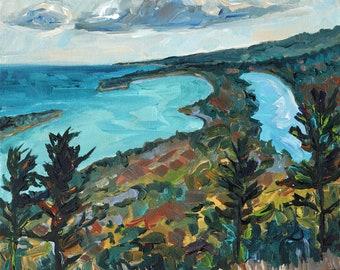 "ORIGINAL Painting: ""Copper Harbor View""  Backpacking, U.P. Michigan, Brockway Mountain, Eagle River"