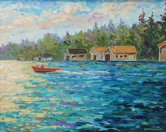 Original Painting of: Boathouse of Les Cheneaux, Hessel, Cedarville, Chris Craft, Sailing, Wooden Boat, Michigan Painting
