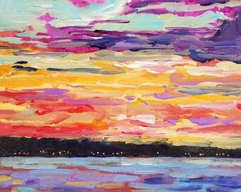 Original Painting of: Sweet Dreams Sunset, Lake Painting, Home Decor, Sunset, Night Lake, Reflections, Michigan, Huron, UP, Saint Ignace