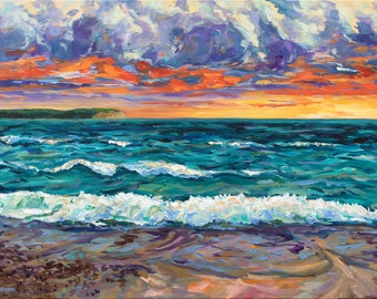 Van's Beach Sunset, Limited Edition Print, Stormy Lake Michigan, Sleeping Bear Dunes, Leelanau, Leland, Fishtown, Lake Michigan