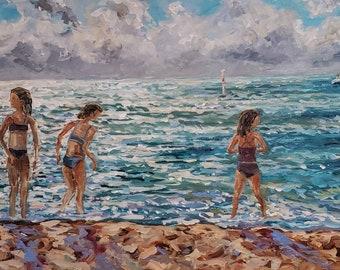 """Original Painting: """"The Swimmers"""" Beach Painting, Michigan, Lake Painting, Michigan Artist"""