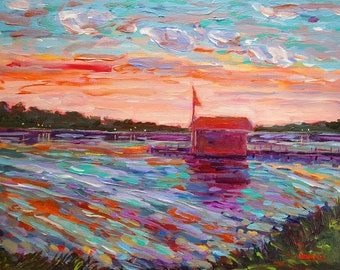 Original Painting of: Night Life, Les Cheneaux, Hessel, Cedarville, Chris Craft, Garwood, Wooden Boat, Michigan Painting