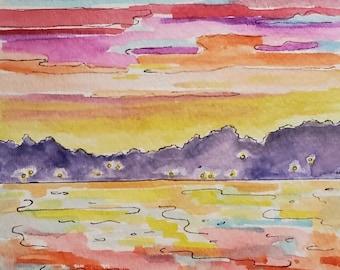 Lake Life, Original Watercolor, Michigan Art