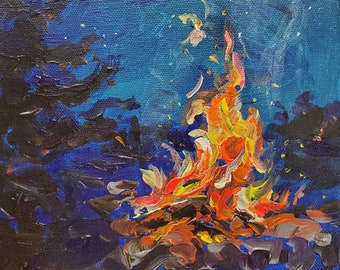 "Original Painting of: ""Campfire"" Camping, outdoor art, cottage decor, s'mores, wood smoke, fire painting"