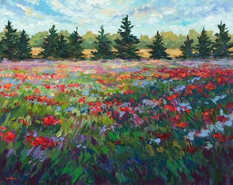 Take My Hand -Original Painting: Poppies, Fennville, Michigan, Poppy field, Poppy painting, Landscape, Flower painting, field, meadow