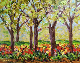"ORIGINAL ""Tulip Time Park"" Tulip Festival, Centennial Park, Holland, Michigan, Painting, Fine Art, wall hanging, collectible, acrylic"