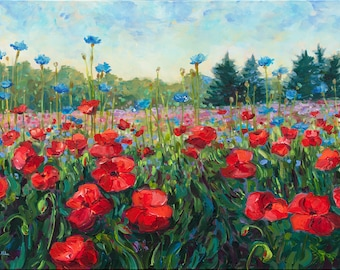 Poppy Dance, Limited Edition Print, Fennville, landscape, Poppy Field, poppy painting, cottage decor, Michigan art, Betsy ONeill