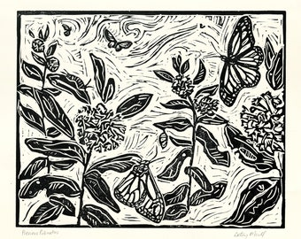 Pollinators, Butterfly, Monarch, Linocut, Fine Art Print