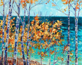 Blue and Gold, Birch Trees, Michigan Art, Beach Paintings, Michigan Shoreline, Upper Peninsula