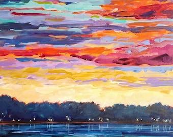 "ORIGINAL ""Lake Respite"" Sunset Painting,Lake Painting,home decor, Michigan, Michigan Painting, Fine Art, wall hanging, collectible, acrylic"