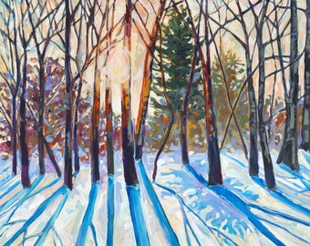 Joyful Existence, Winter Solstice, Michigan Snow Painting, Winter Woods, Forest, Winter Sun on Snow