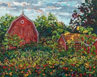 Lena's Garden, Limited Edition Reproduction Print, Grand Rapids, Meijer Gardens, Botanical, Farm, Barn, Sunflowers, Michigan Art, Painting