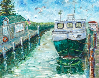 ORIGINAL Painting of Historic Fishtown, Joy, Leland, Fishing Boat, Summer Vacation