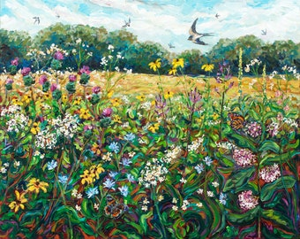 Laughing Meadow, Summer Field, Prairie, Swallows, Native Wildflowers, Flora and Fauna Painting