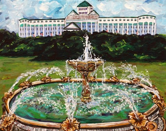Grand Fountain, Grand Hotel, Mackinac Island, Victorian, Summer Vacation, American Flags, Straights of Mackinac
