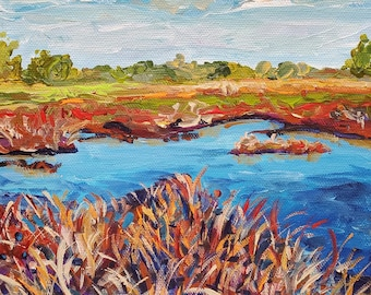 Marsh in October, Cattails, Autumn colors, Sky Reflections, Reeds and Grasses, Michigan Art, Upper Penninsula,