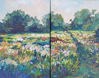"""Original Plein Painting: """"Heart and Soul"""" Diptych, Michigan, Field, Flower painting, Wildflower, Meadow,"""
