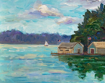 Hessel Sunset, Les Cheneaux Boat Houses, Cedarville, Chris Craft, Garwood, Wooden Boat, Ensign, Michigan Painting, Fine Art Giclee