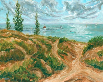 Saint Joseph, Lake Michigan, Lighthouse, Beach, Water, Sand, Dunes, Fine Art Print, Giclee, Canvas Print
