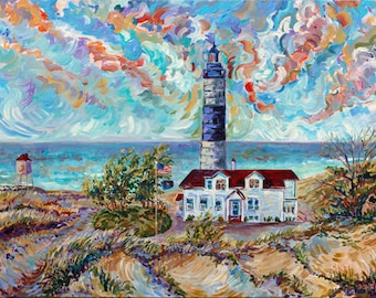 ORIGINAL Painting: Ludington, Big Sable Point, 18x24 Acrylic on Canvas Fine Art