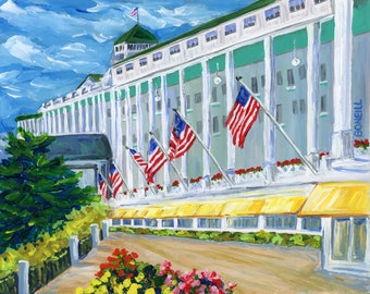 Grand Hotel, Mackinac Island, Victorian, Summer Vacation, American Flags, Michigan Artist