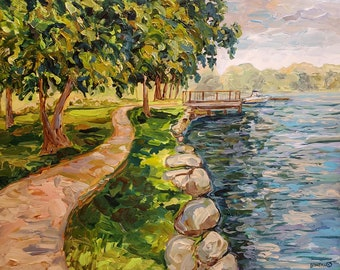"Original Painting: ""Reeds Lake Path,""East Grand Rapids, Michigan art, Michigan Lakes, Home Decor."