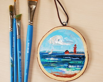 Grand Haven Pier, Mini Painting, Wall Ornament, Michigan, Travel, Hand Painted Ornament