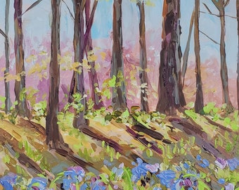 "Original Plein air Painting: ""Bluebells"" Michigan Painting, spring woods, wild flowers, Home Decor, cottage decor, Michigan"