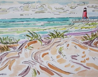 Charlevoix, I MIss You, Original Watercolor, Michigan Lighthouse