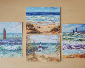 Multi Pack Greeting Cards, Pack of 8 blank cards, envelopes, Michigan Lighthouses