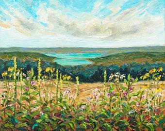 "Original Painting: ""Sleeping Bear Meadow"" Michigan Painting, Sleeping Bear Dunes, Glen Lake, Home Decor, beach art, dune climb"
