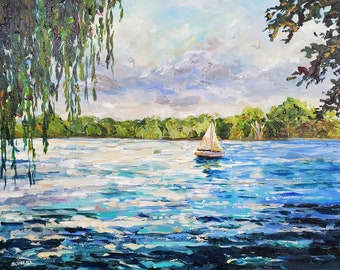 Willow and Lake, reproduction print, Reeds Lake, East Grand Rapids, Michigan, lake painting sailboat, landscape, cottage decor