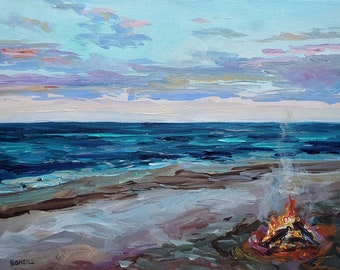 In The Moment, Beach Campfire, Milky Way, Campfire, Stars, Tent Camping, Michigan, landscape, night art, reproduction print, camp art