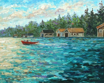 Les Cheneaux Boat Houses, Hessel, Cedarville, Chris Craft, Garwood, Wooden Boat, Michigan Painting, Fine Art Giclee
