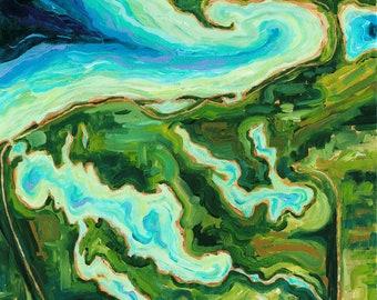 Aerial Impressions, Petoskey, Bay Harbor, Harbor Springs, Charlevoix, Walloon, Michigan Map, Michigan Art, Betsy ONeill