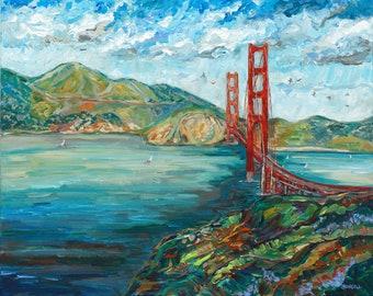 ORIGINAL painting: Golden Gate Bridge, San Francisco, California,