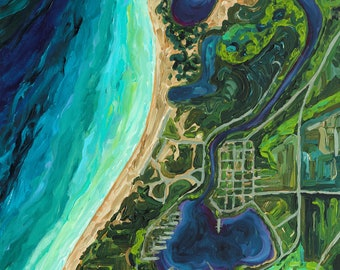 Aerial Impressions, Saugatuck, Michigan, Aerial Map, Nautical, Michigan Map, Betsy ONeill, Michigan Art, Michigan artist