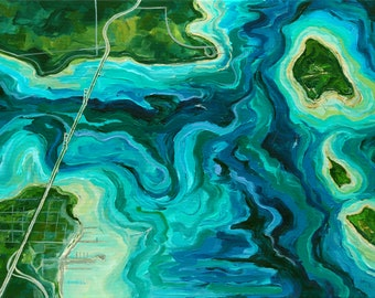 Straits of Mackinac, Mighty Mac, Aerial Map, Michigan Art, Aerial Art, Betsy ONeill