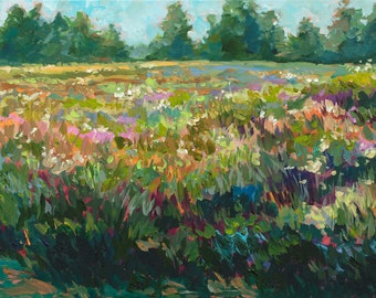 Early Summer, Limited Edition Print, Summer Field, Prairie, Field Painting, Native Wildflowers, Flora and Fauna Painting, Michigan art